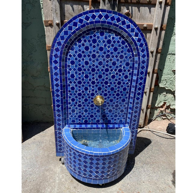 Moroccan Blue Moroccan Arch Tile Fountain For Sale - Image 3 of 7