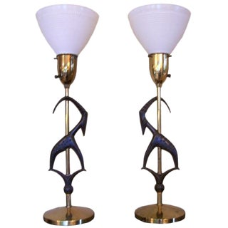 Pair of Antelope Lamps by Rembrandt with Original Vintage Shades For Sale