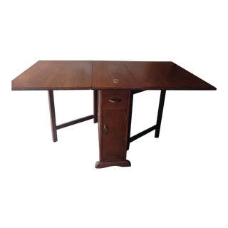 Mid-Century Modern Solid Teak Drop-Leaf Table