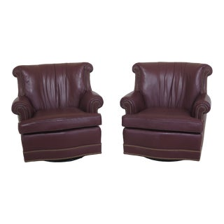 1990s Vintage Hancock & Moore Swivel Leather Club Chairs- A Pair For Sale