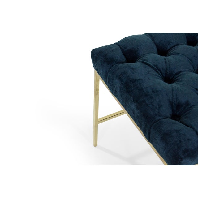 Gold 1950s Modern Tufted Brushed Brass Stools - a Pair For Sale - Image 8 of 12