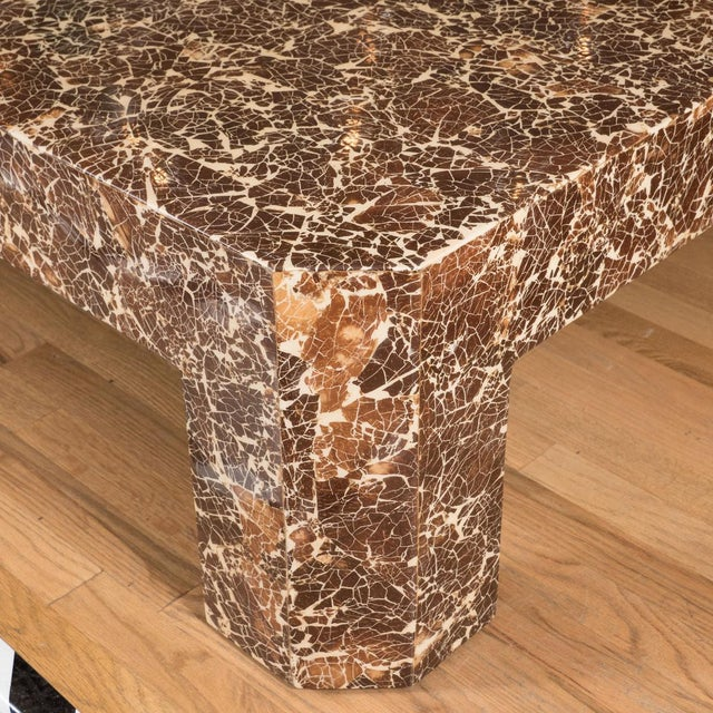 Mid-Century Modern Lacquered Coconut Shell Coffee Table For Sale - Image 3 of 5