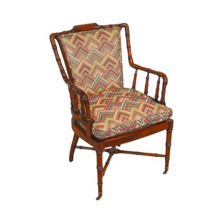 Faux Bamboo Custom Quality Mahogany Arm Chair For Sale