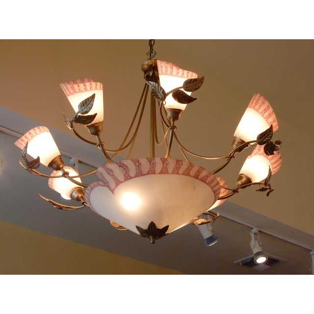 Vintage 1950's French Eight Light Chandelier For Sale - Image 4 of 8