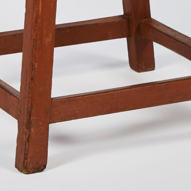 Simple Wooden Factory Stool From Late 19th Century France For Sale - Image 4 of 5