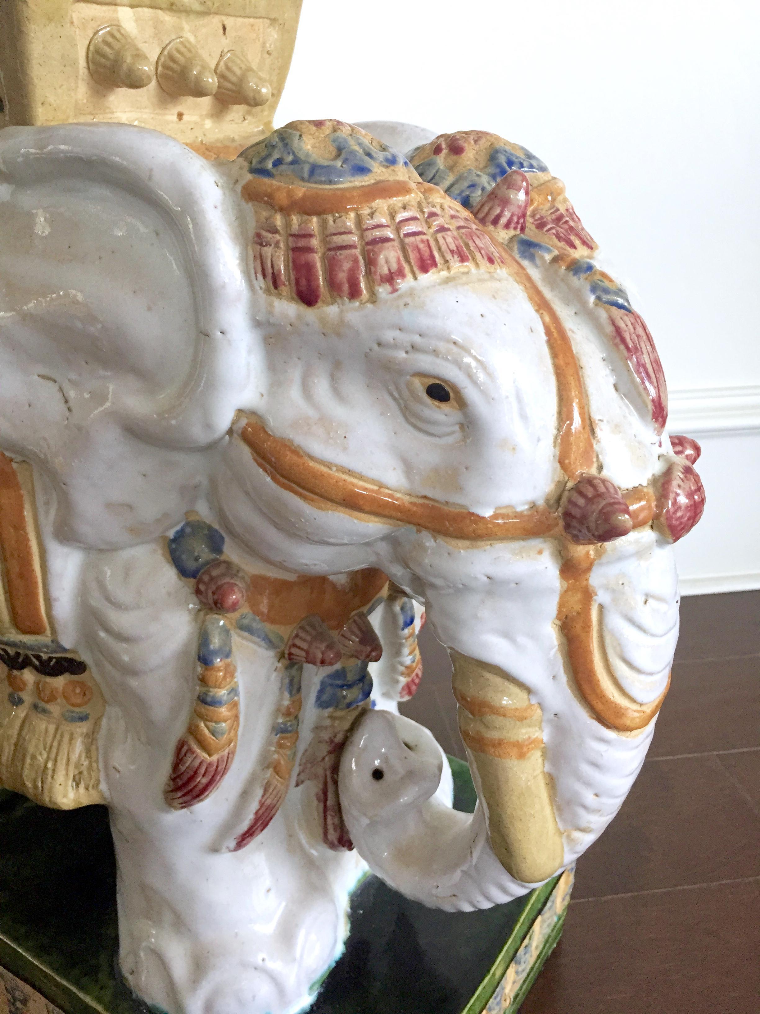 Vintage Colorful Ceramic Elephant Garden Stool   Image 7 Of 11
