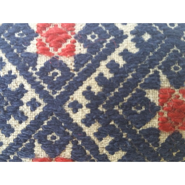 Indigo Red Star Embroidered Pillow - Image 4 of 5