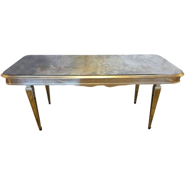 Antique Mirrored Hollywood Regency Decorative Dining Room Table For Sale - Image 10 of 10
