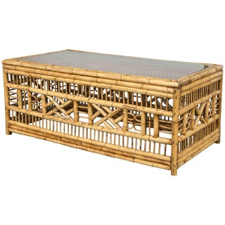 Vintage Mid Century Rectangular Bamboo Chippendale Coffee Table For Sale