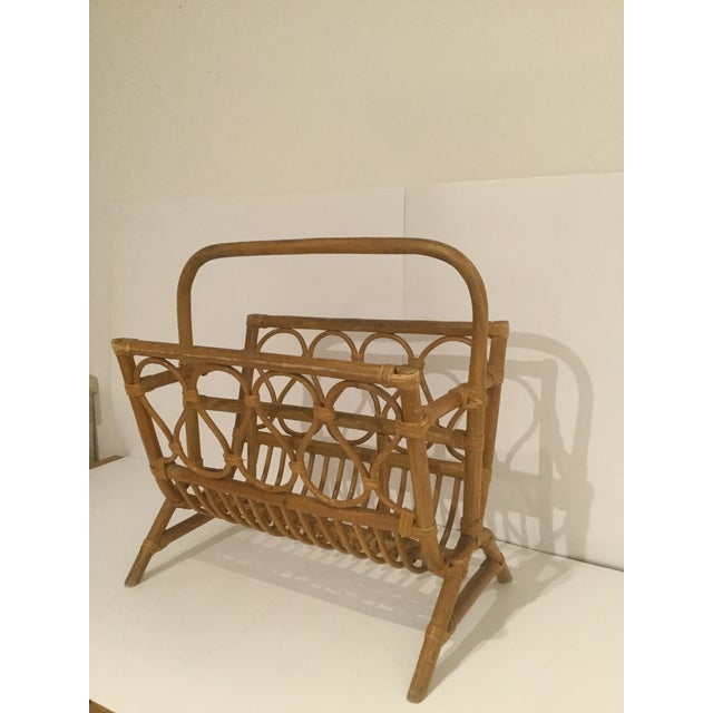 Vintage Boho Chic Rattan Magazine Rack For Sale - Image 4 of 7