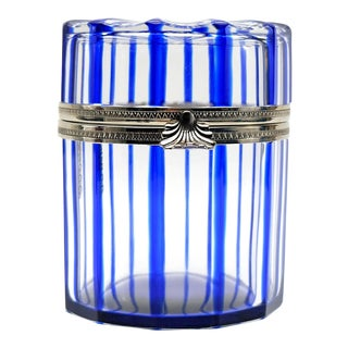 Cobalt Blue and Cut Crystal Lidded Box by Cristal Benito, France For Sale