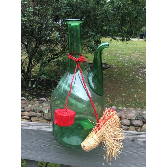 Italian Green Glass Wine Carafe Chiller - Image 3 of 6