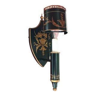 Black and Gold The Federalist Tole Sconces- a Pair For Sale