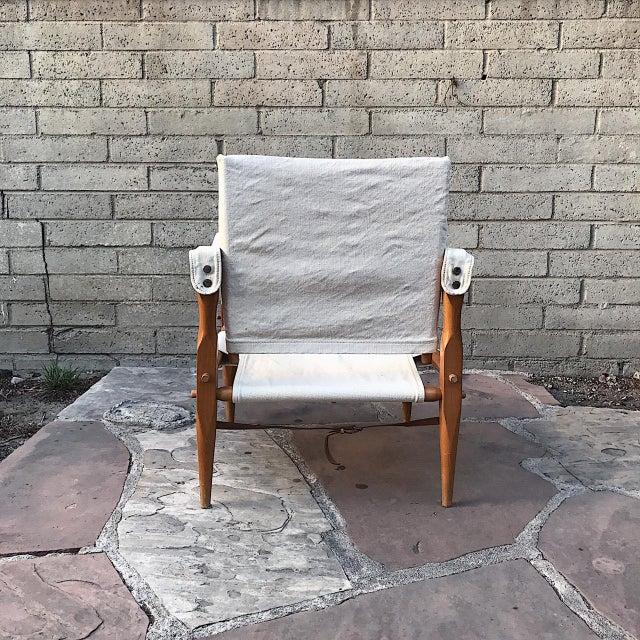 Danish Modern Teak & Canvas Danish Safari Chair For Sale - Image 3 of 4