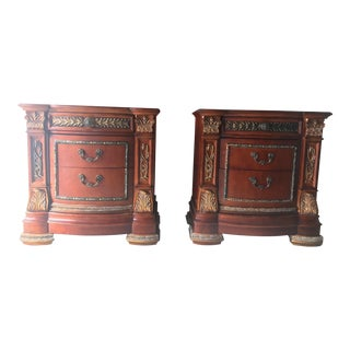 Traditional Horchow/Neiman Marcus Hand Crafted Nightstands - a Pair For Sale