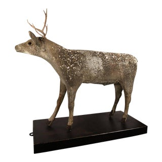Early Century Lifesize Concrete Deer on a Rolling Steel Platform