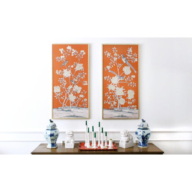 """2010s Jardins en Fleur """"Stockwood Park"""" by Simon Paul Scott Chinoiserie Hand-Painted Silk Diptych, Out of Production - 2 Pieces For Sale - Image 5 of 6"""