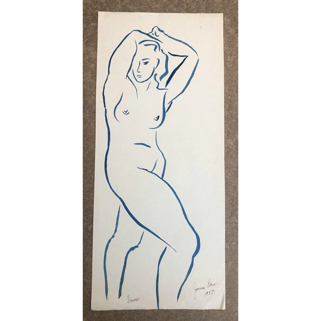 1957 Dancer Modern Drawing by James Bone For Sale - Image 4 of 5