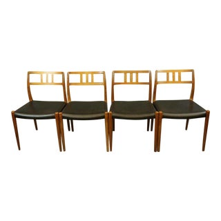 Niels Otto Møller Black Leather Model 79 Dining Chairs - Set of 4 For Sale