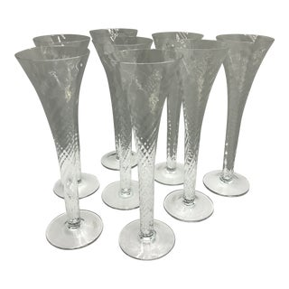 Tall Vintage Romanian Mouth Blown Spiral Twist Champagne Flutes-Set of 8 For Sale