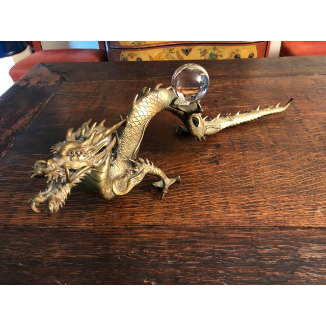 Antique Asian Articulated Dragon Sculpture Holding Glass Ball For Sale - Image 13 of 13