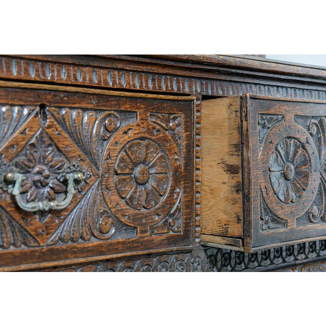 Carved oak dresser For Sale In West Palm - Image 6 of 9