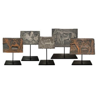 Belgian Farm Animal Print Blocks-Set of 5 For Sale
