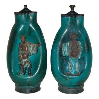 Fantoni Vintage Italian Ceramic Table Lamps Blue Green For Sale