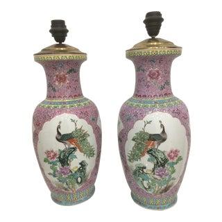 Peacock Cloissone Lamps - A Pair