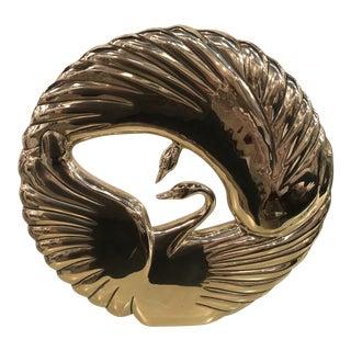 Vintage Art Deco Polished Brass Swan Statue For Sale