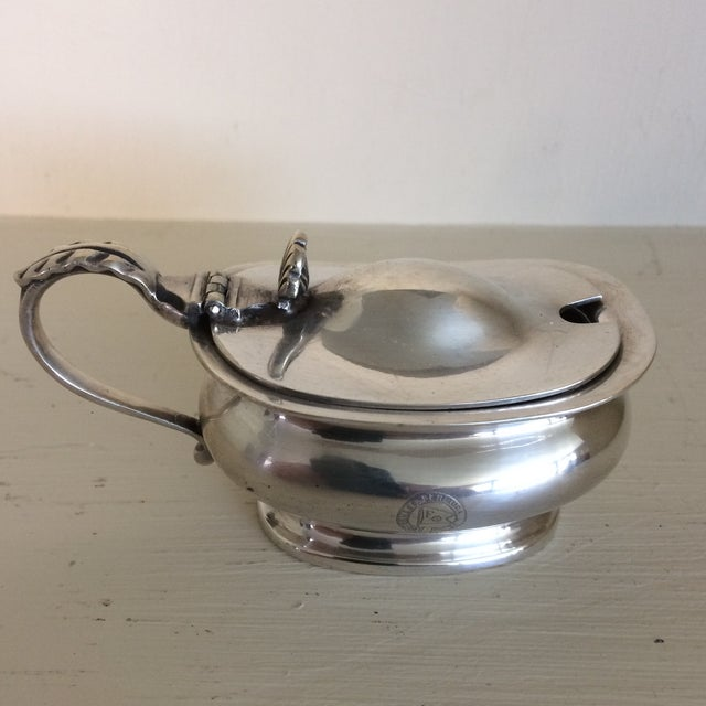 Art Deco 1930s Furness Bermuda Lines Silver Salt Cellar With Glass Liner and Spoon For Sale - Image 3 of 13