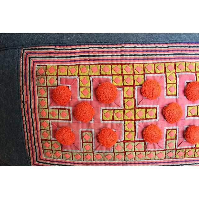 Boho Chic Vivid Applique Hmong Textile Pillow with Pom Poms For Sale - Image 3 of 6