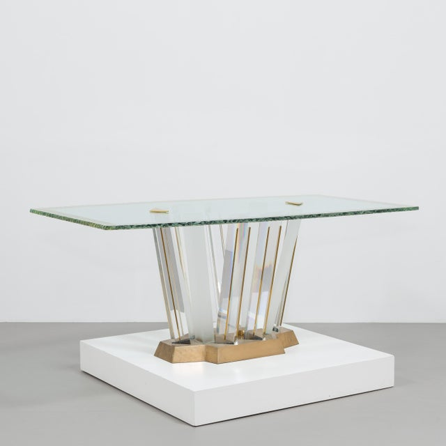 A Superb Lucite and Bronze Dining Table with Unique Glass Top - Image 2 of 11