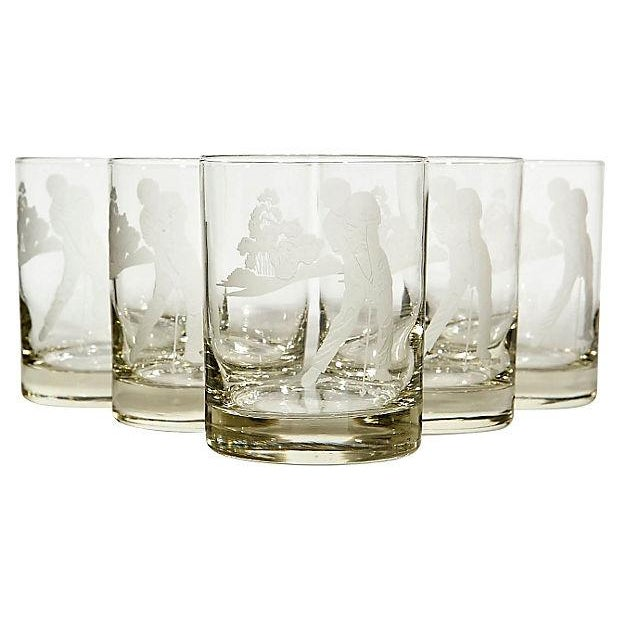 Vintage Etched Golf Glass Tumblers - Set of 5 - Image 1 of 3