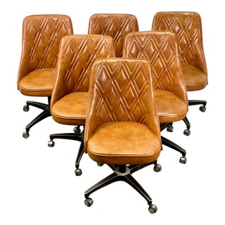 Vintage Chromcraft Mid Century Modern Quilted Leather Swivel Dining Chairs - Set of 6 For Sale