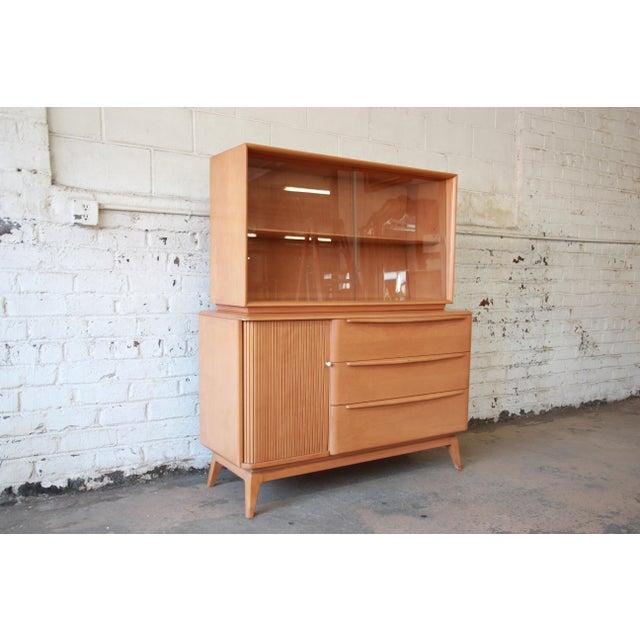 Heywood-Wakefield Co. Heywood Wakefield Tambour Door Credenza with Hutch Top For Sale - Image 4 of 11