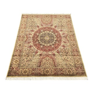 1990s Vintage Hand-knotted Sarouk Style Area Rug- 8′11″ × 12′ For Sale