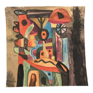 1946 Abstract Mid-Century Modern Gouache Painting by Berard, Quebec For Sale