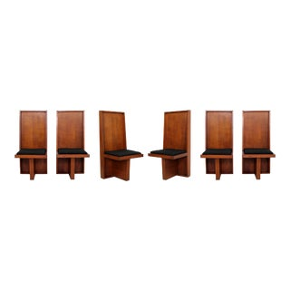 Mid Century Modern Set 6 High Back Frank Lloyd Wright Style Wood Dining Chairs