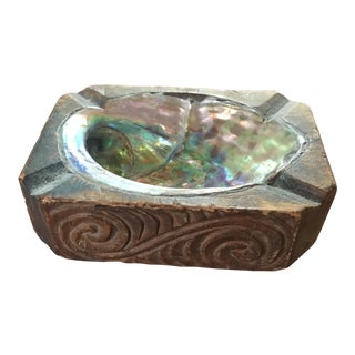 Abalone & Wood Small Trinket Dish For Sale