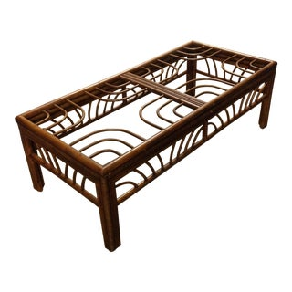 Vintage Bamboo Rattan Coffee Table For Sale