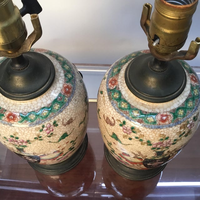 19th Century Antique Asian Hand Painted Table Lamps - a Pair For Sale - Image 4 of 13