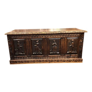 Carved 19 Century French Coffer Trunk For Sale