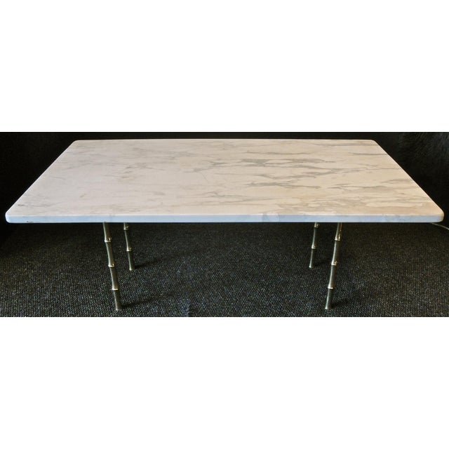 Metal Italian Mid-Century White Marble Cocktail Table For Sale - Image 7 of 7