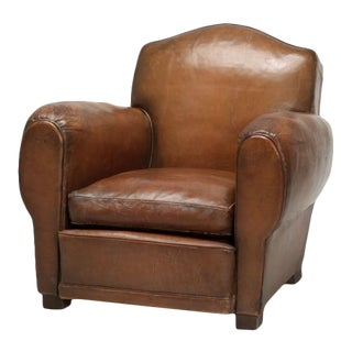 Art Deco French Leather Club Chair For Sale