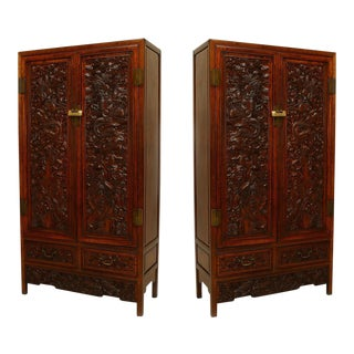 Pair of Asian Chinese Hardwood Cupboard Cabinets