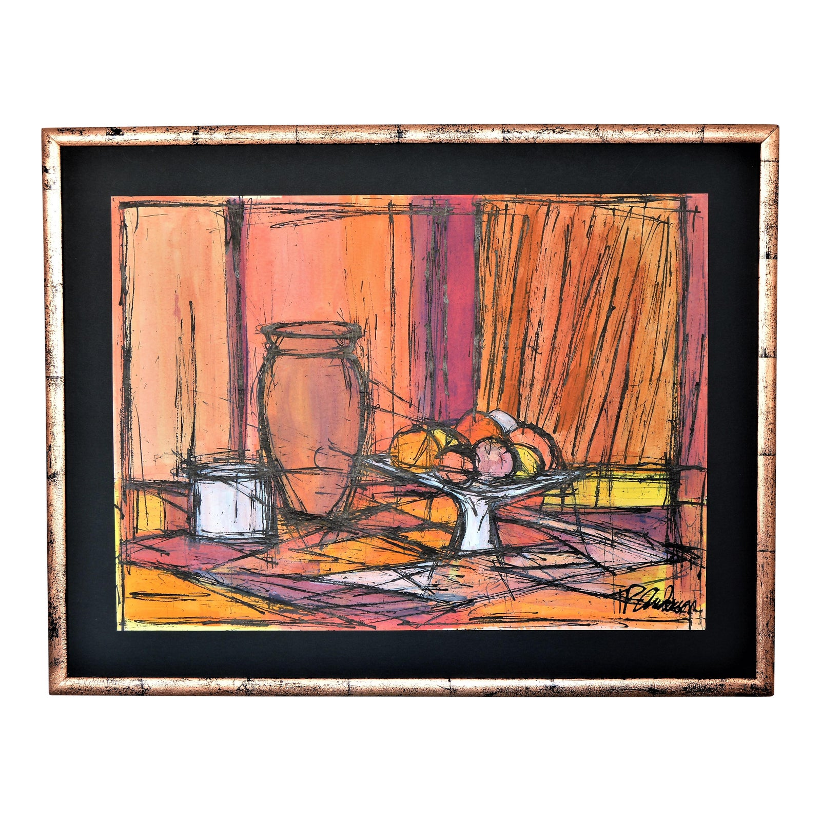 Large Framed Mid Century Modern Abstract Expressionist Cubist Watercolor &