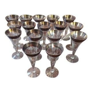 1950s Vintage Dorthy Thorp Wine Glasses- Set of 16 For Sale