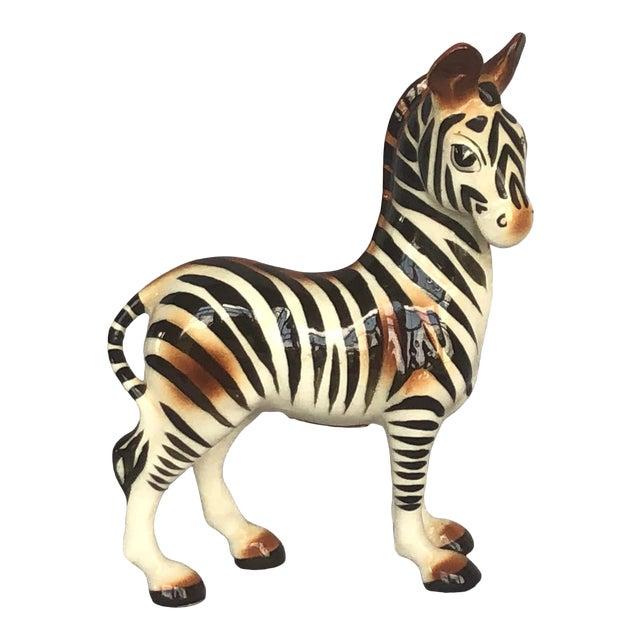 Mid-Century Modern Fern Importation Ceramic Zebra Figurine For Sale