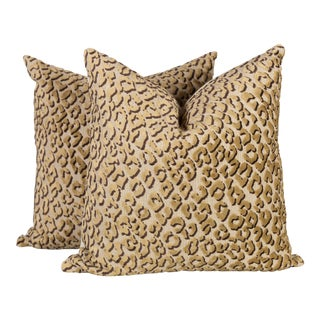 Cheetah Conga Line Velvet Pillows - a Pair
